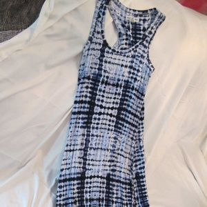 Blue & White Maxi Beach Dress w Built In Bra